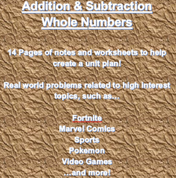 Addition, Subtraction, and Estimation with Whole Numbers and Decimals