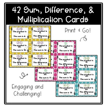 Addition, Subtraction, and Multiplication Task Cards