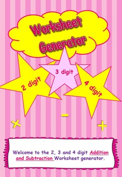 Addition, Subtraction and Multiplication Worksheet Generator