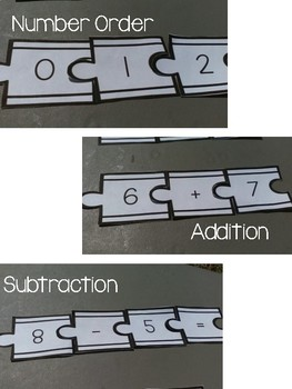 Addition, Subtraction, and Number Order Puzzles using Train Tracks- Math Center