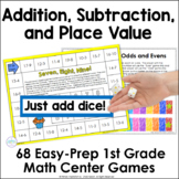 First Grade Math Games Addition, Subtraction, and Place Value Bundle
