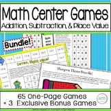 End of Year First Grade Addition Subtraction Place Value Math Games Bundle