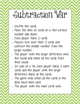 Addition, Subtraction, and Place Value War Directions