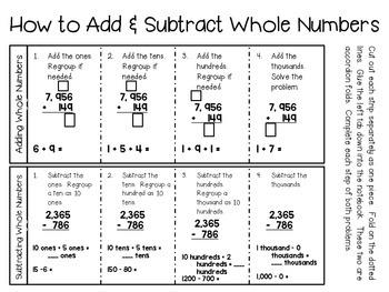 Addition & Subtraction (grades 4 & 5) ~ Math Interactive Notebook Activities