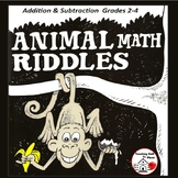 Addition & Subtraction Worksheets Animal Math Riddles  COLOR  Gr. 3-4  Problems