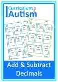 Decimals Addition Subtraction Autism Special Education