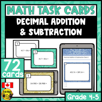 Addition & Subtraction of Decimals Task Cards Grades 4-6
