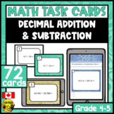 Addition and Subtraction of Decimals | Paper or Digital Ta