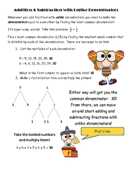 Addition & Subtraction of Fraction Engaging Notes