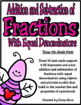 Addition & Subtraction of Fractions (Equal Denominators):
