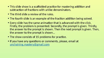 Addition & Subtraction of Fractions with Unlike Denominators (scaffolded)