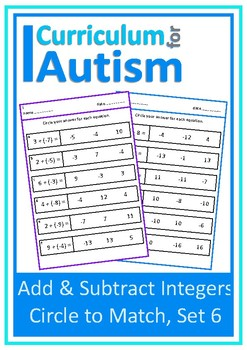 Addition Subtraction of Integers Autism Special Education Independent Work