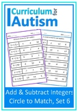 Addition Subtraction of Integers Autism Special Education