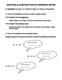 Addition & Subtraction of Integers notes