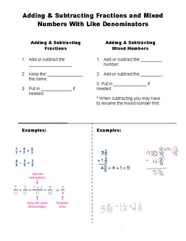 Addition & Subtraction of Like Fractions and Mixed Numbers foldable