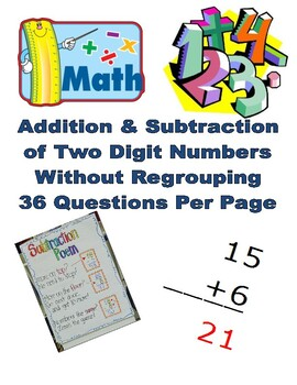 Addition & Subtraction of Two Digit Numbers Without Regrouping Pack