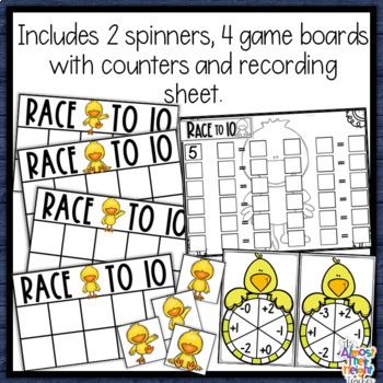 Addition & Subtraction - tens frame game: Chick themed for Spring & Easter