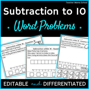 Addition & Subtraction to 10 Word Problems ❤ BUNDLE ❤