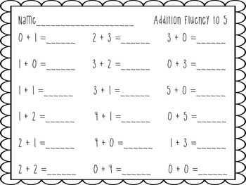 Addition & Subtraction to 5 Fluency Activities