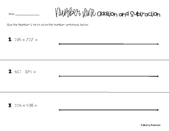 Addition / Subtraction using a Number Line (larger)