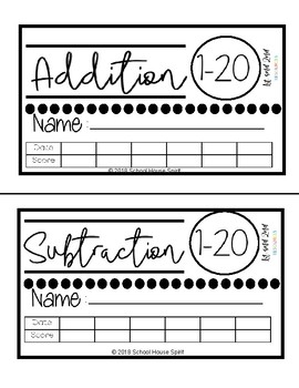 Addition & Subtraction with 20 - Progress Monitors