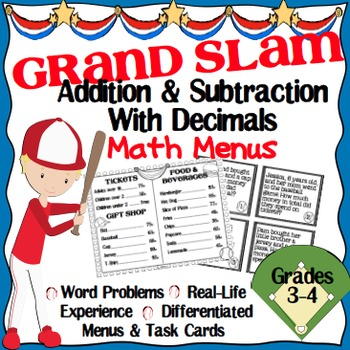 Addition & Subtraction with Decimals Math Menu & Task Cards Grades 3-4