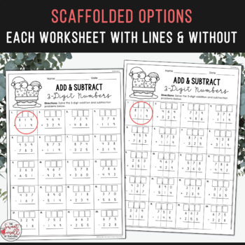 Addition & Subtraction with Regrouping Activities - Christmas Edition