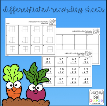 Addition & Subtraction with Regrouping Task Cards (Garden Theme)