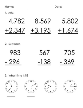 Addition & Subtraction with Regrouping, Time Practice Worksheet | TpT