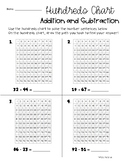 Addition / Subtraction with a 100's Chart and Place Value Base Ten