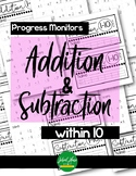 Addition & Subtraction within 10 - Progress Monitors