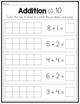 Addition & Subtraction to 10 Worksheets