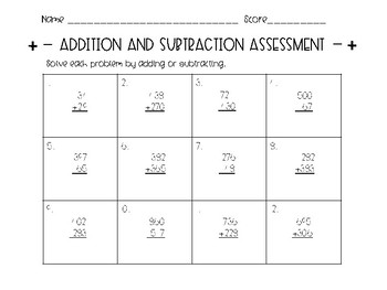 Addition & Subtraction Assessment with Regrouping