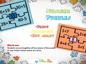 Addition & Subtraction Number Puzzles!