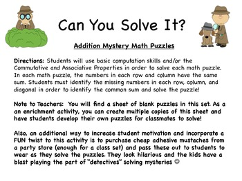 Addition Sudoku Mystery Puzzles