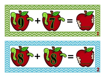 Addition Sums 10 to 25 Activity Cards