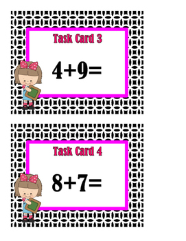 Addition Sums 12 to 20 Task Cards - Set 1