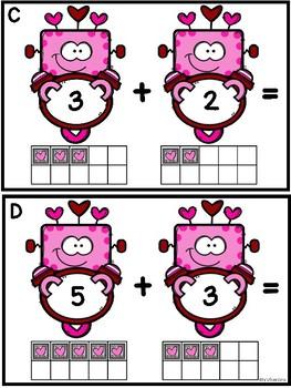 Addition Sums To 10 (Valentine Robots)