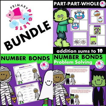 Addition Facts Flashcards and Worksheets Halloween BUNDLE 3 Sets