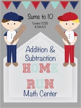 Adding & Subtracting within 10 Math Center for Pre-K & K Baseball Themed