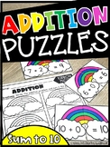Addition Sums to 10 Rainbow Puzzles (Morning Tub or Math Center)