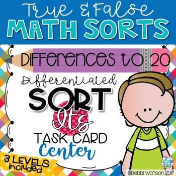 Subtraction Differences to 20 Center: True False Sort It Math Activity