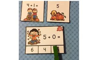 Addition Sums to 6 Clip It Task Cards, Matching Cards, and More
