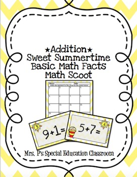 *Addition* Sweet Summertime Basic Math Scoot