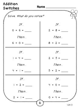 Addition Switches-Student Pages (First Grade, 1.OA.3)