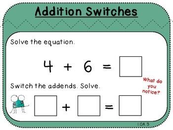 Addition Switches-Teacher Slides (First Grade, 1.OA.3)