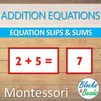 Montessori: Addition Equations & Answers