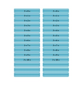 Addition Tables - Colour - With and without answers