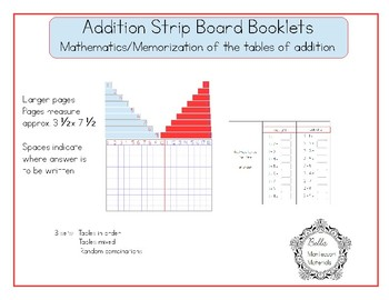 Addition Tables Of Combinations Booklets  - Montessori