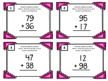 Addition Task Card {BUNDLE} 2 and 3 Digit Addition. Math Centers. 2 3 Addends